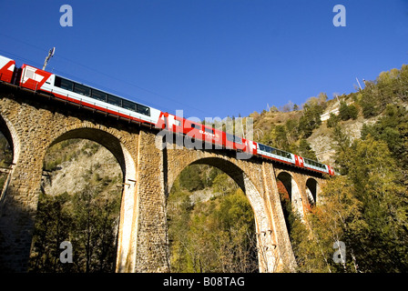Glacier-Express on Grengiols bridge, Switzerland, Valais - Stock Photo