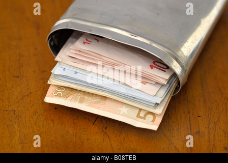 Euro banknotes in a metal box - Stock Photo