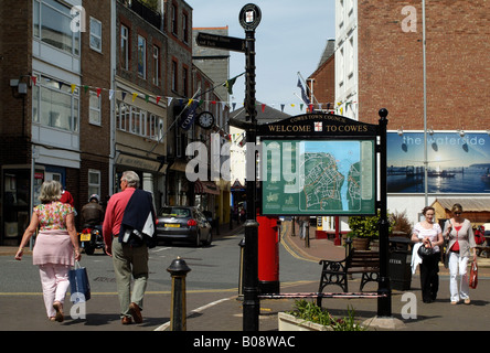 Cowes Isle of Wight England Town Centre and Tourist Sign - Stock Photo