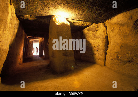 Dolmen de Menga, bronze-age burial chamber (dolmen), Antequera, Málaga Province, Andalusia, Spain - Stock Photo