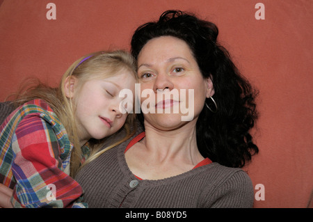 Mother with child, 10 years old - Stock Photo