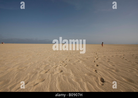 Sandy beach at Santa Maria, Sal Island, Cape Verde, Africa - Stock Photo