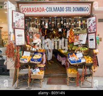 Specialty food shop in Palma de Mallorca, Majorca, Balearic Islands, Spain - Stock Photo