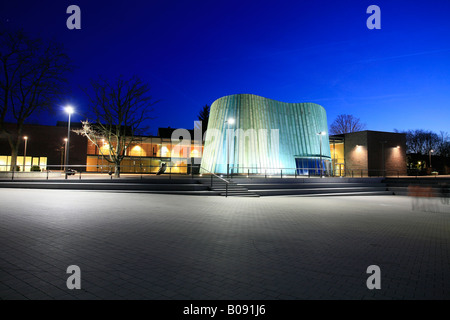 The new music school at dusk, Fellbach, Stuttgart, Baden-Wuerttemberg, Germany - Stock Photo