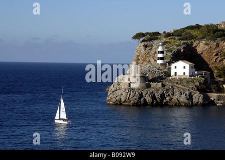 port entrance of Sller, Spain, Majorca, Port De Soller - Stock Photo