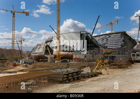 Bridge Pavilion building site, designed by architect Zaha Hadid, at the Expo 2008 grounds, Zaragoza, Saragossa, - Stock Photo