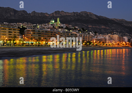 Altea at night, Alicante, Costa Blanca, Spain - Stock Photo