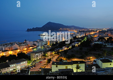 View of Albir at night, Altea, Alicante, Costa Blanca, Spain - Stock Photo