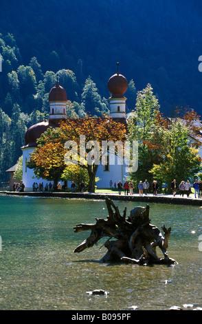 St. Bartholomae, Lake Koenigssee, Nationalpark Berchtesgaden (Berchtesgaden National Park), Berchtesgaden region, - Stock Photo