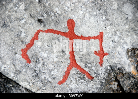 Stick figure man, rock painting, rock art at Alta, Norway, Scandinavia - Stock Photo