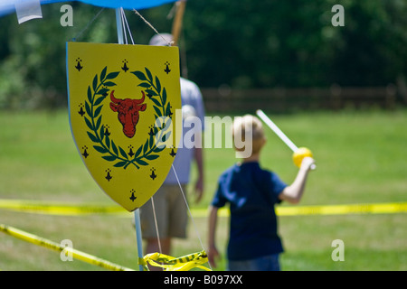 Living history at cub scouts camp - Stock Photo