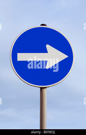 Traffic with an arrow pointing to the right - move to the political right, east - Stock Photo