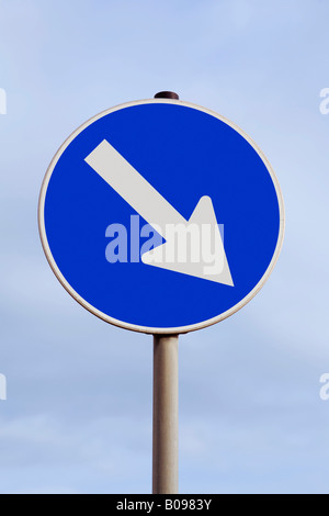 Traffic with an arrow pointing down and to the right, decline, fall, falling stocks, southeast - Stock Photo