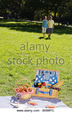Young couple walking towards picnic in park - Stock Photo
