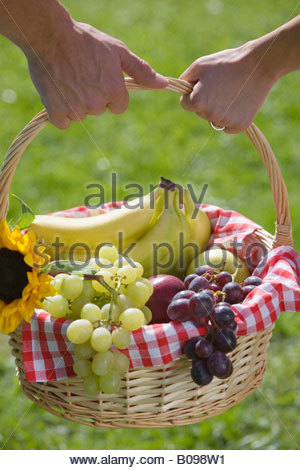 Young couple, carrying picnic basket full of fruit, Close-up of hands - Stock Photo