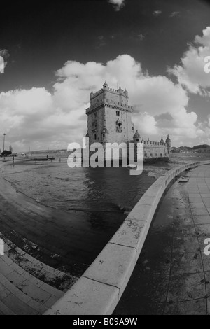 Tower of Belem, a world Heritage Site in Portugal on the river Tagus near Lisbon. - Stock Photo