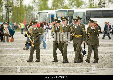 Young Red Army Soldiers on Victory Day in Victory Park, Moscow, Russia, Russian Federation - Stock Photo