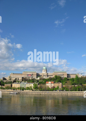 BUDAPEST, HUNGARY. Dawn view of Budapest Castle on the Buda side of the Danube, as seen from Belvaros in Pest. - Stock Photo