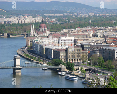 BUDAPEST, HUNGARY. View of the Pest side of the city and the River Danube from Citadella in the Gellert Hegy district. - Stock Photo