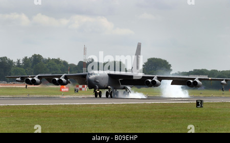 B 52 H Superfortress long range bomber landing at RAF Fairford in Gloucestershire UK - Stock Photo