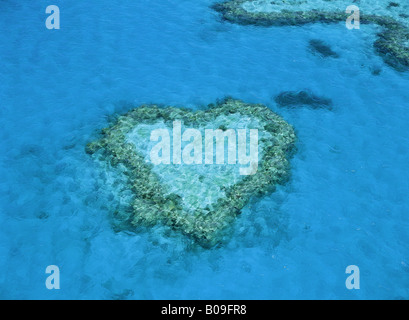 Aerial view of Heart Reef in Hardy Reef part of Great Barrier Reef Queensland Australia - Stock Photo