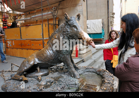 Bronze Boar in Mercato Nuovo, Florence, taly - Stock Photo