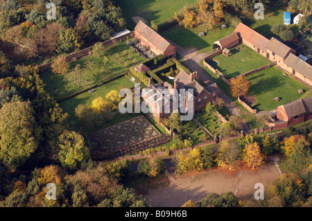 Aerial view of Moseley Old Hall near Wolverhampton owned bt the National Trust England Uk - Stock Photo