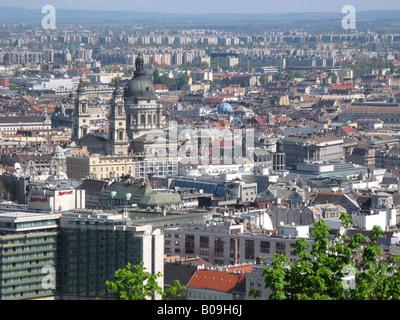 BUDAPEST, HUNGARY. View of the Belvaros district on the Pest side of the city, as seen from Citadella on the Buda - Stock Photo