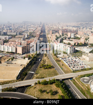 AERIAL VIEW OF GRAN VIA AND TRAFFIC DISTRIBUTORS IN BARCELONA CATALONIA SPAIN - Stock Photo