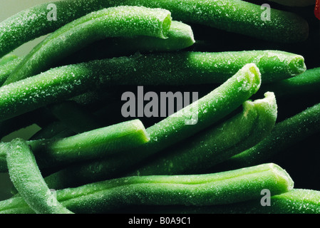 Frozen green beans, extreme close-up, full frame - Stock Photo