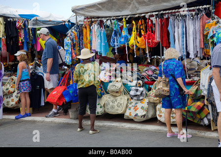 Caribbean tourist town of Flee market in St.Maarten; Caribbeans - Stock Photo