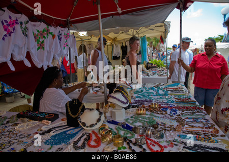 Flee market in St.Maarten in the Caribbean - Stock Photo