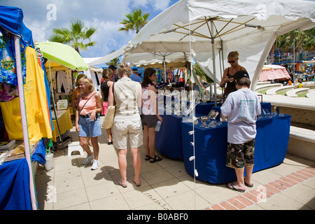 Caribbean Flee market in St.Maarten;Caribbean - Stock Photo