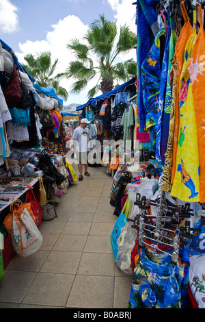 Tourist town Flee market in St.Maarten;Caribbeans - Stock Photo