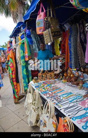 Tourist attraction Flee market in St.Maarten; Caribbeans - Stock Photo