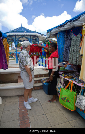 Flee market in St.Maarten; Caribbean - Stock Photo