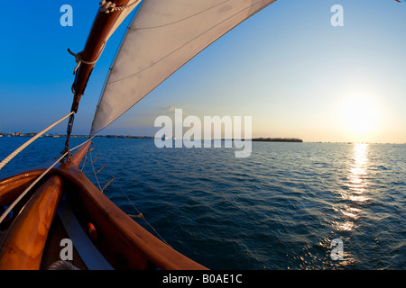 View of sunset from sailboat in Key West, Florida - Stock Photo