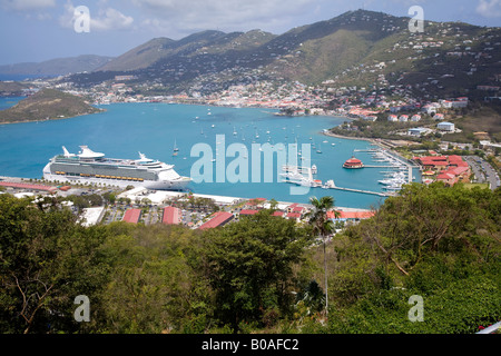 Cruise Ship with Harbor as seen from Paradise Point in St Thomas West Indies - Stock Photo