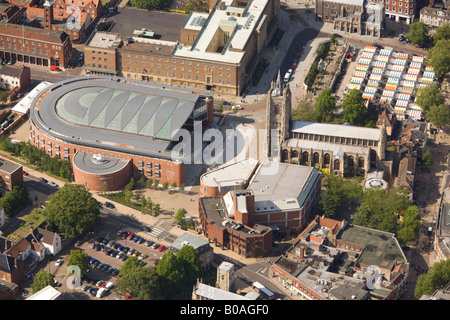 Aerial view of The Forum Library and centre for information arts events and tourism in Norwich City Centre Norfolk - Stock Photo