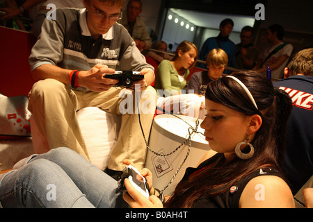 Young people at the Games Convention 2006 in Leipzig, Germany - Stock Photo
