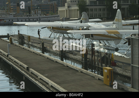 Seaplanes on Lake Union, Seattle - Stock Photo
