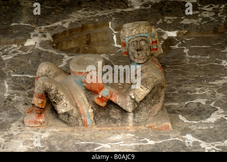 Polychrome Chacmool sculpture at the ruins of the Templo Mayor or Great Temple of Tenochtitlan, Mexico City - Stock Photo