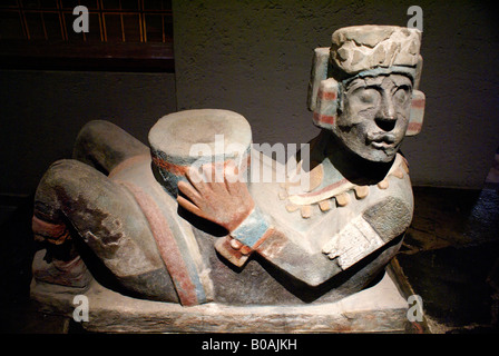 Polychrome Chac mool figure on display at the Museo del Templo Mayor, Mexico City - Stock Photo