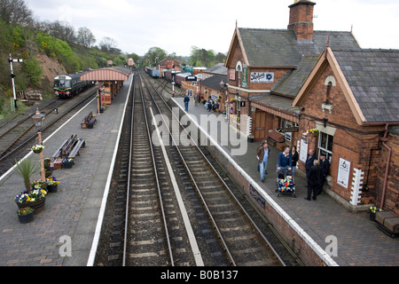 Platforms and tracks Bewdley station Severn Valley Railway Worcestershire UK - Stock Photo