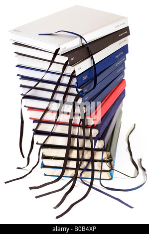 A stack of old and new Diaries - Stock Photo