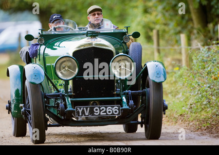 Vintage Bentley convertible sports car being driven in Charlton Park Wiltshire UK - Stock Photo