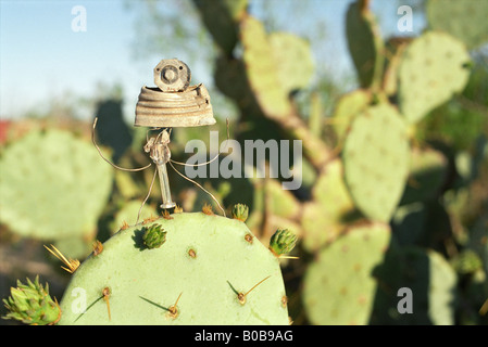 Pecos Man abiding the heat in Langtry Texas - Stock Photo
