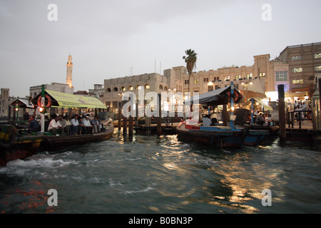 The old town at the Dubai Creek in the evening, Dubai, United Arab Emirates - Stock Photo