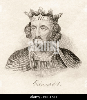 Edward I aka Longshanks 1239 1307 King of England From the book Crabbs Historical Dictionary published 1825 - Stock Photo