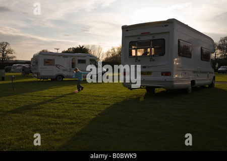 Motorhomes at the Camping and Caravanning Club campsite, Kessingland, Suffolk, England - Stock Photo